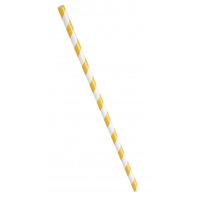 PAPER  PARTY  STRAWS  SUNFLOWER  YELLOW  STRIPES - PACK OF 10
