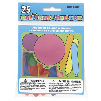 PARTY BALLOONS ASSORTED COLOURS - Pack of 25