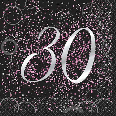 Pink Glitz 30th Birthday Luncheon Napkins (16pk)