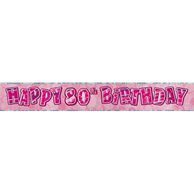 Pink Glitz 80th Birthday Prism Banner