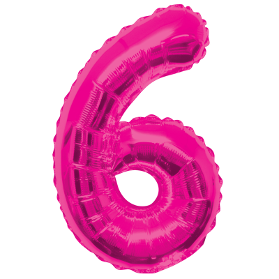 "Pink Number 6 Balloon - 34"" FOIL"