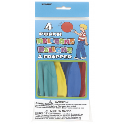 PUNCH BALLOONS ASSORTED COLORS - Pack of 4