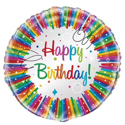 Rainbow Ribbons Happy BirthDay FOIL BALLOON  18""