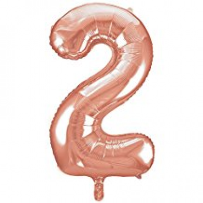 Rose Gold Foil Balloon Number 2 - 34""