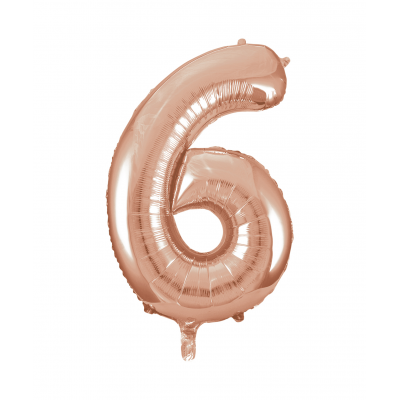 Rose Gold Foil Balloon Number 6 - 34""