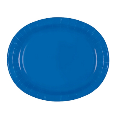 "ROYAL BLUE 12"" OVAL PLATES - PACK OF 8"