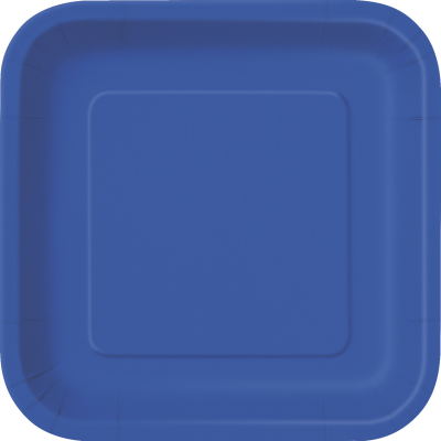 "ROYAL BLUE 9"" SQUARE PLATES - Pack of 14"