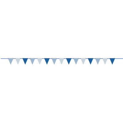 ROYAL BLUE DOTS & STRIPES PAPER FLAG BANNER
