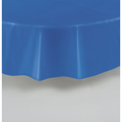 "ROYAL BLUE ROUND PLASTIC TABLECOVERS 84"" ."