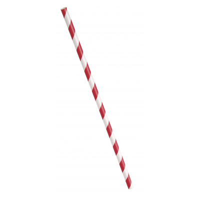 RUBY  RED PAPER  PARTY  STRAWS   STRIPES - PACK OF 10