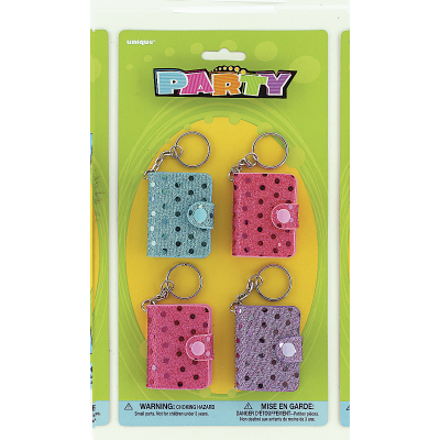 SEQUIN NOTEBOOK KEY RINGS ASSORTED COLOURS - PACK OF 4