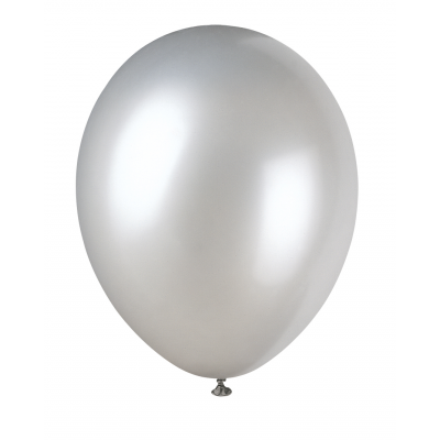 "SHIMMERING SILVER Pearlised balloons 12"" - Pack of 8"