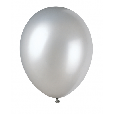 "SHIMMERING SILVER PEARLIZED PREMIUM BALLOONS 12"" inch - Pack of  50"