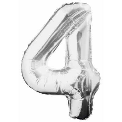 "Silver Number 4 Balloon - 34"" FOIL"