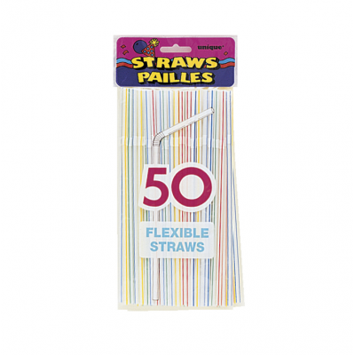 STRIPED  FLEX  PARTY STRAWS  - PACK OF 50