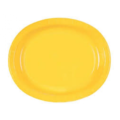 "Sunflower Yellow 12"" Oval Paper Plates - Pack of 8"