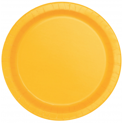 "Sunflower Yellow 9"" Round Plastic Plates - Pack of 8"