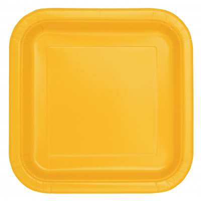 "Sunflower Yellow 9"" Square Paper Plates - Pack of 14"