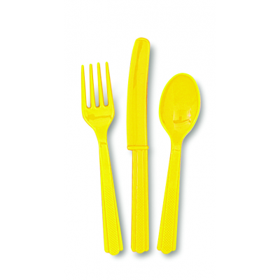 Sunflower Yellow Plastic Cutlery Assorted - Pack of 18