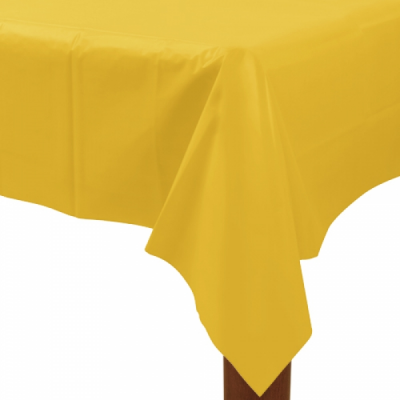 "Sunflower Yellow Plastic Tablecover 54"" X 108"""