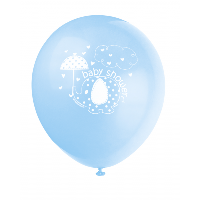 "UMBRELLAPHANTS BLUE Baby Shower 12"" BALLOONS - PACK OF 8"