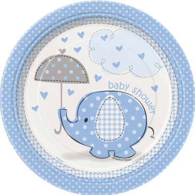 "Umbrellaphants Blue Baby Shower 7"" PLATES - Pack of 8"