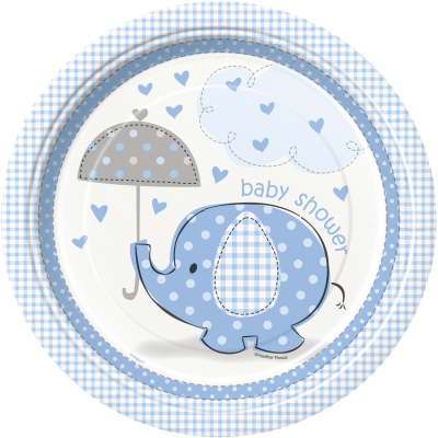 "Umbrellaphants Blue Baby Shower 9"" PLATES - Pack of 8"