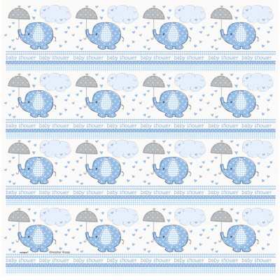 "Umbrellaphants Blue Baby Shower GIFT WRAP ROLL 30"" x 5 FT"