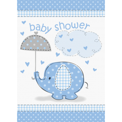 Umbrellaphants Blue Baby Shower INVITATIONS - Pack of 8