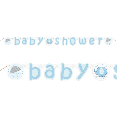 Umbrellaphants Blue Baby Shower JOINTED BANNER