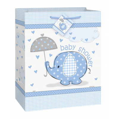 UMBRELLAPHANTS BLUE Baby Shower LARGE GLOSSY GIFT BAG