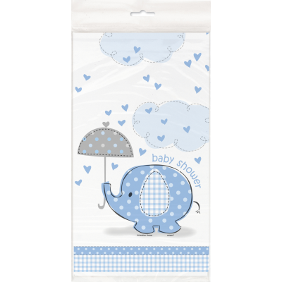 "Umbrellaphants Blue Baby Shower PLASTIC TABLECOVER 54"" x 84"""