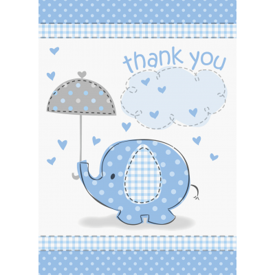 Umbrellaphants Blue Baby Shower THANK YOU NOTES - Pack of 8