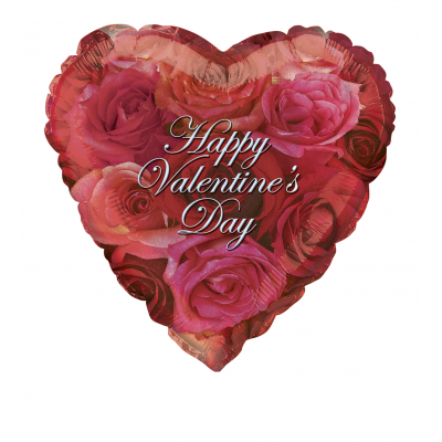 "VALENTINE PHOTO ROSES 18"" HEART FOIL BALLOON"
