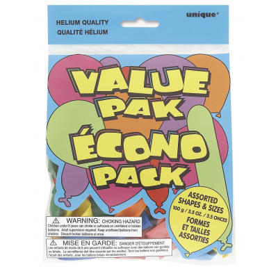 VALUE PAK BALLOONS ASSORTED SHAPES & SIZES