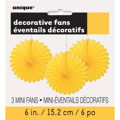 Yellow Hanging Decoration Mini Fan - Pack of 3