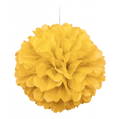 Yellow Hanging Decorative Puff Ball